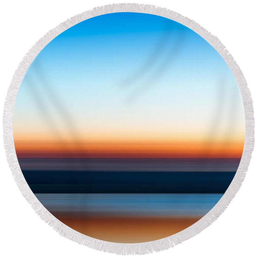 Sunset Round Beach Towel featuring the photograph Sunset At Ottawa Lake by Scott Norris