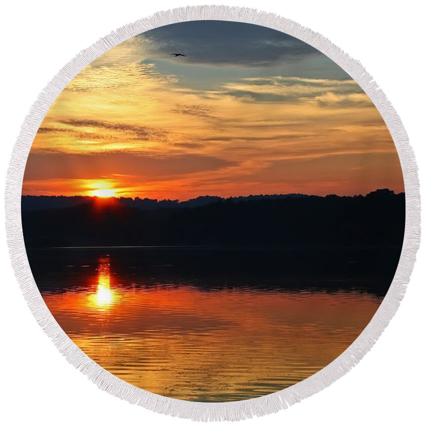 Landscape Round Beach Towel featuring the photograph Sunset At Princess Point by Barbara McMahon