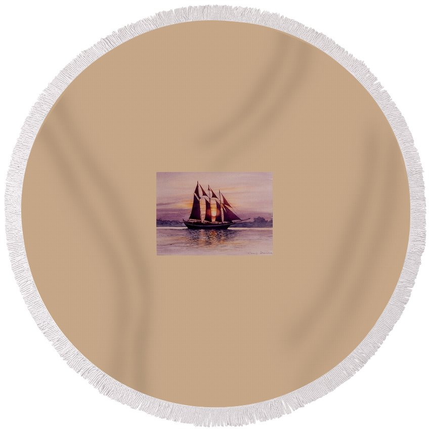 Ship Round Beach Towel featuring the mixed media Sunset At Sea by Constance Drescher