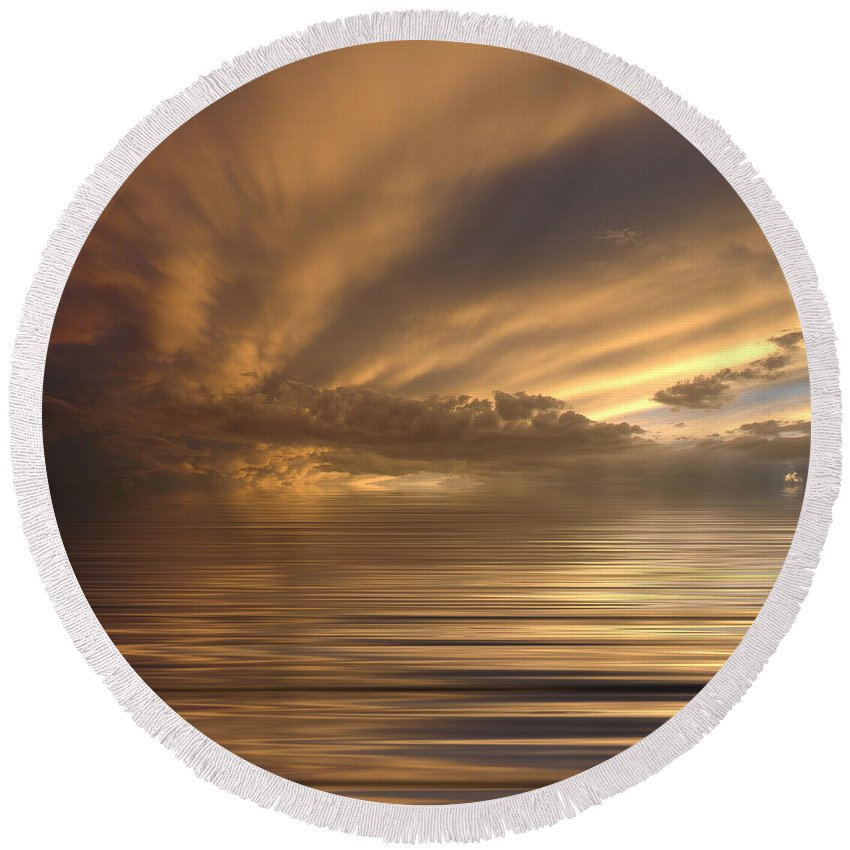 Sunset Round Beach Towel featuring the photograph Sunset At Sea by Jerry McElroy