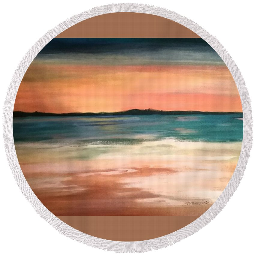 Setting Sun Round Beach Towel featuring the painting Sunset At The Beach by Dolores Pettit