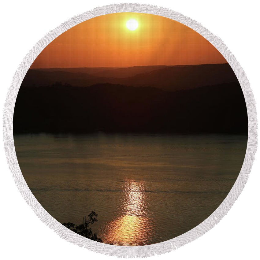 Art Round Beach Towel featuring the photograph Sunset At The Lake by Southern Arts