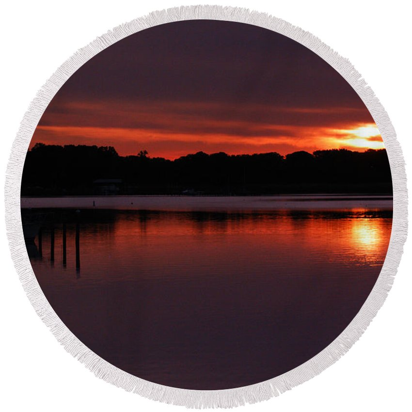 Clay Round Beach Towel featuring the photograph Sunset At The Marina by Clayton Bruster