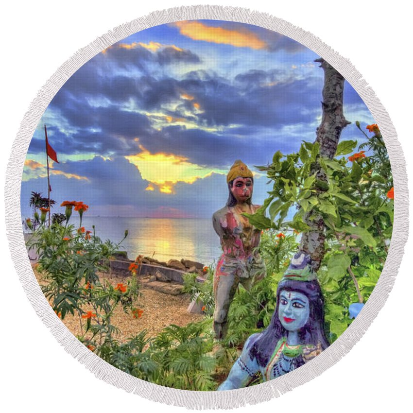 Trinidad Round Beach Towel featuring the photograph Sunset At The Temple by Nadia Sanowar