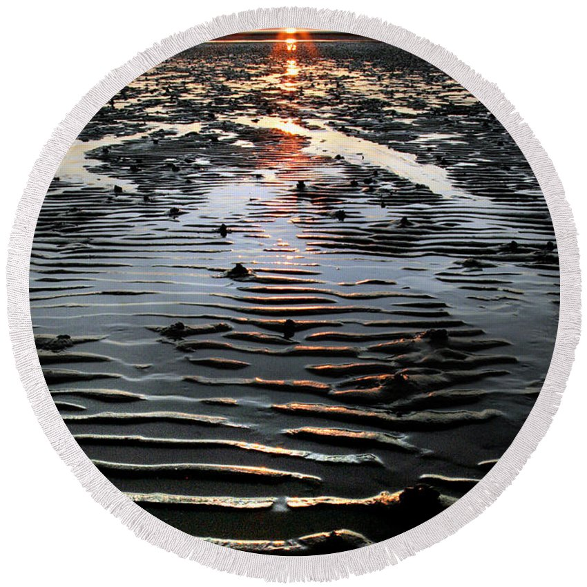 Sunset Round Beach Towel featuring the photograph Sunset At The West Shore Llandudno by Mal Bray