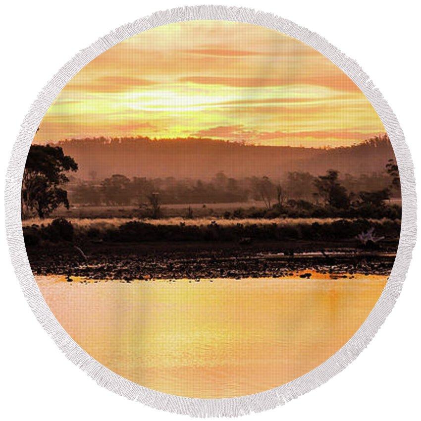 Tantaslising Tasmania Series By Lexa Harpell Round Beach Towel featuring the photograph Sunset At Triabunna Tasmania by Lexa Harpell