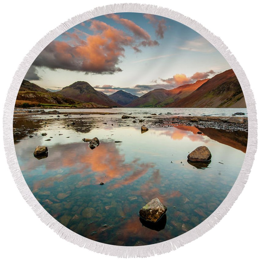 Sunrise Round Beach Towel featuring the photograph Sunset at Wast Water #1, Wasdale, Lake District, England by Anthony Lawlor