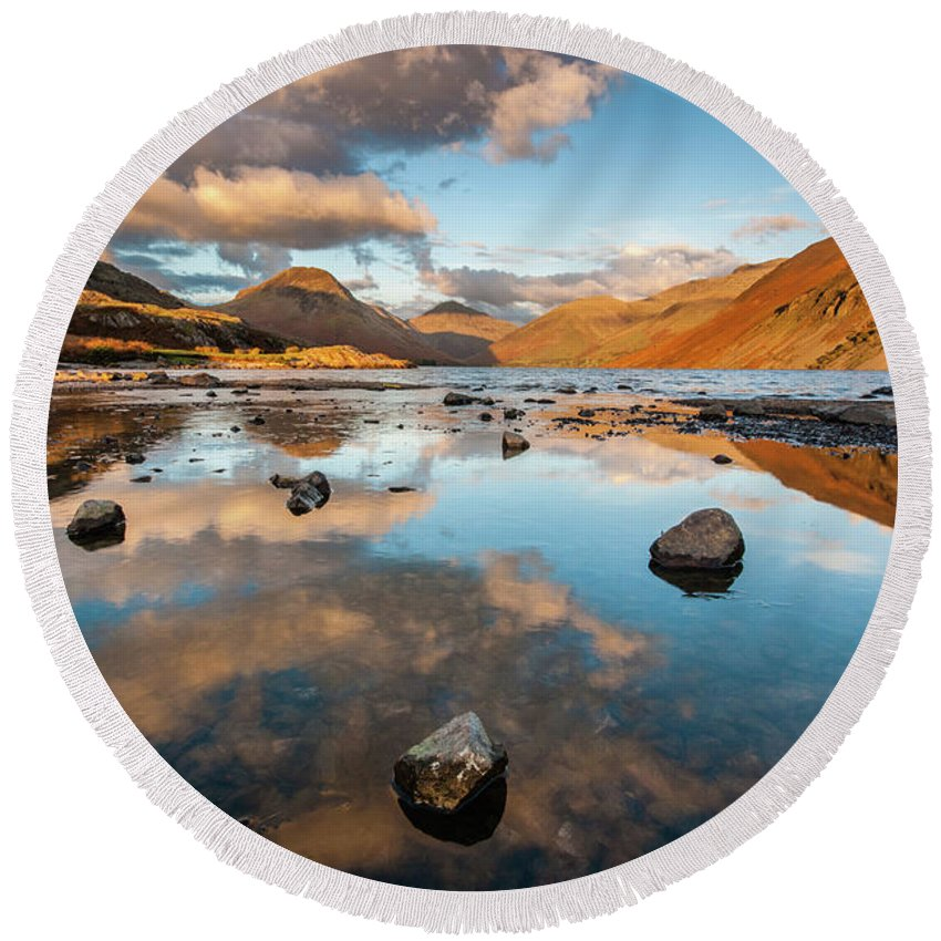 Sunrise Round Beach Towel featuring the photograph Sunset at Wast Water #3, Wasdale, Lake District, England by Anthony Lawlor