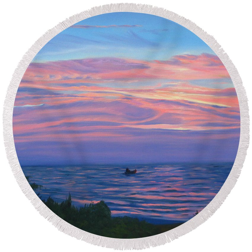 Seascape Round Beach Towel featuring the painting Sunset Bay by Lea Novak