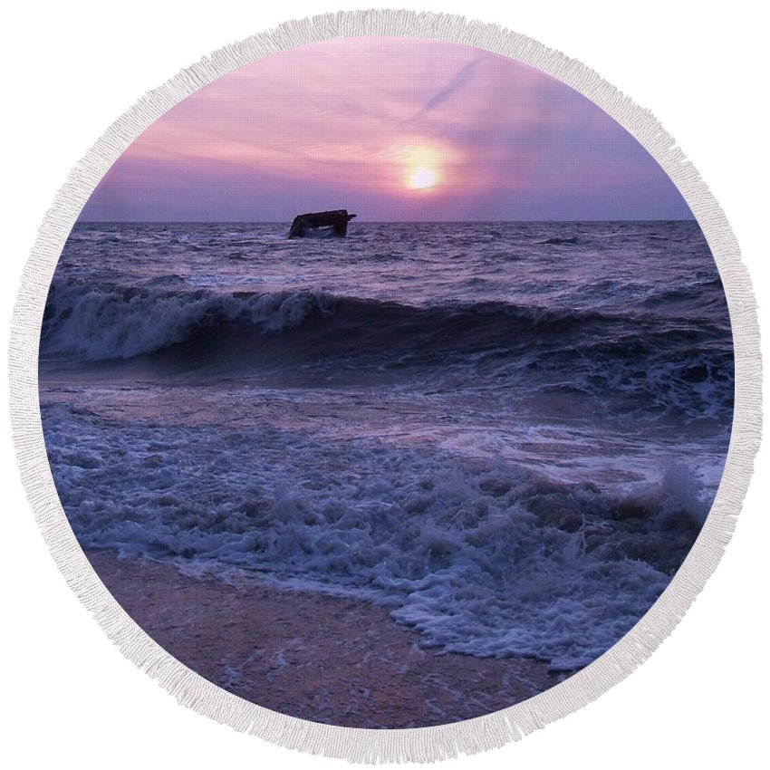 Sunset Round Beach Towel featuring the painting Sunset Beach Nj And Ship by Eric Schiabor