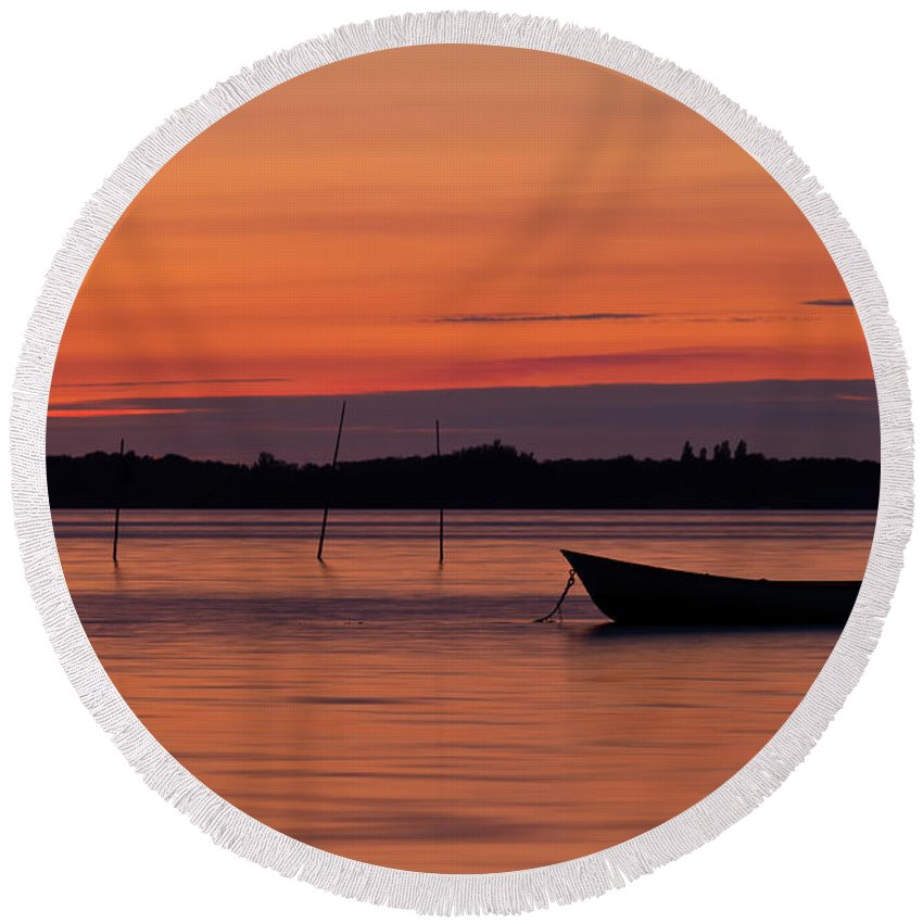 Boat Round Beach Towel featuring the photograph Sunset Boat by Gert Lavsen