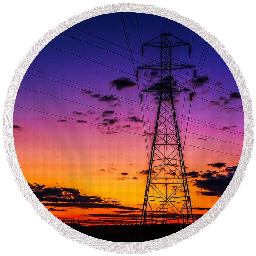 Sunset Round Beach Towel featuring the photograph Sunset By The Wires by Nick Zelinsky