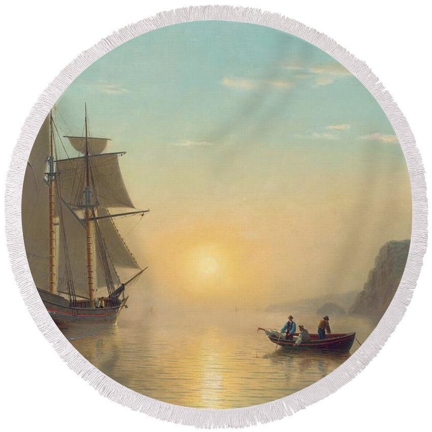 Boat Round Beach Towel featuring the painting Sunset Calm In The Bay Of Fundy by William Bradford