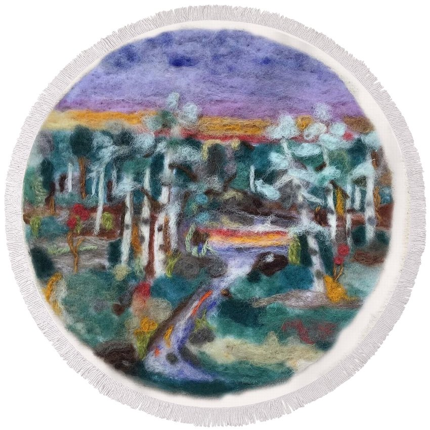 Sunset Round Beach Towel featuring the tapestry - textile Sunset by Christine Lathrop