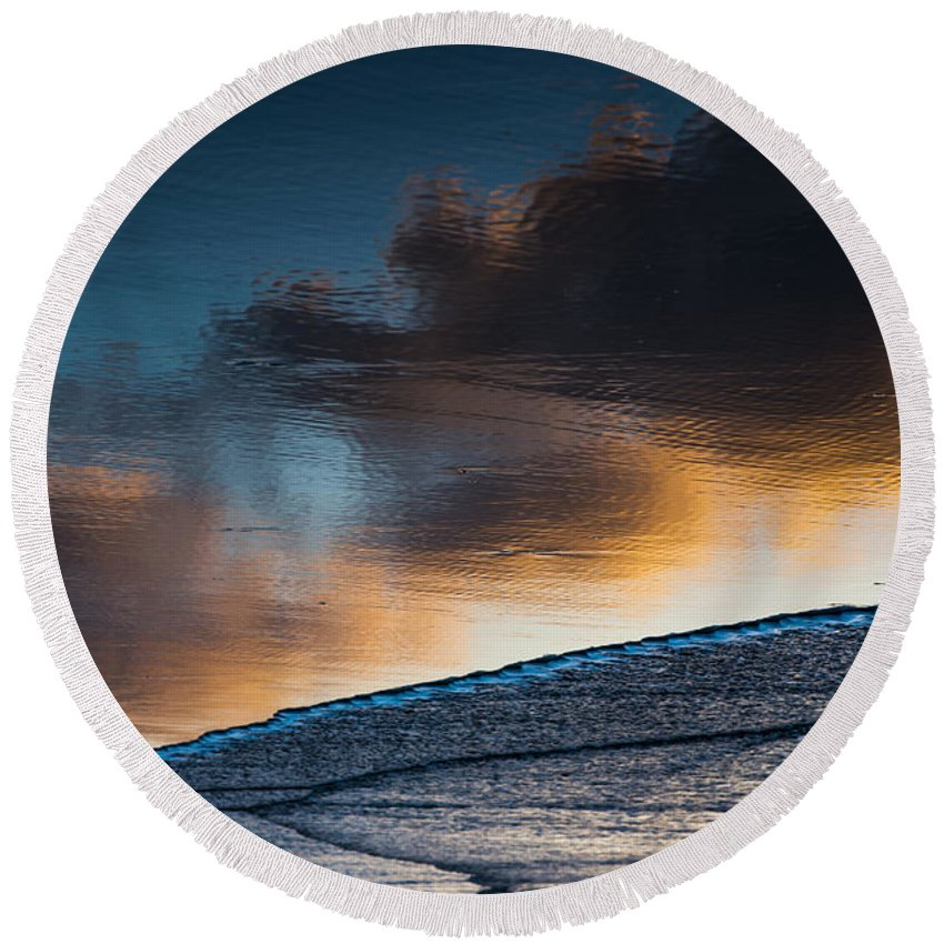 Beach Round Beach Towel featuring the photograph Sunset Clouds Reflect by Robert Potts