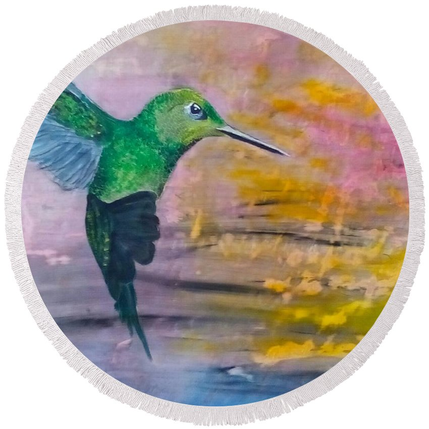 Hummingbird Round Beach Towel featuring the painting Sunset Dancer by J Bauer