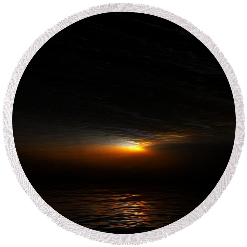 Digital Painting Round Beach Towel featuring the digital art Sunset by David Lane
