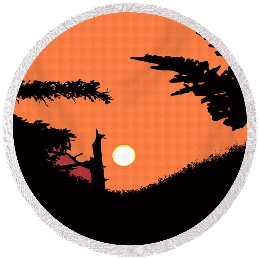 Sunset Round Beach Towel featuring the painting Sunset by David Lee Thompson