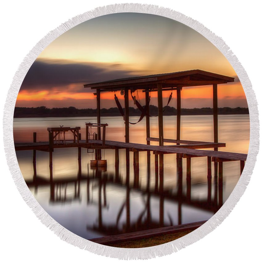 Galveston Round Beach Towel featuring the photograph Sunset Dock by Tom Weisbrook