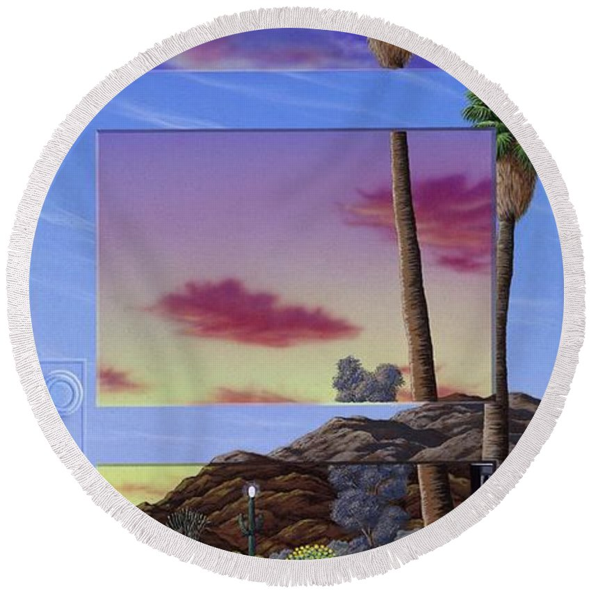 Landscape Round Beach Towel featuring the painting Sunset Door by Snake Jagger