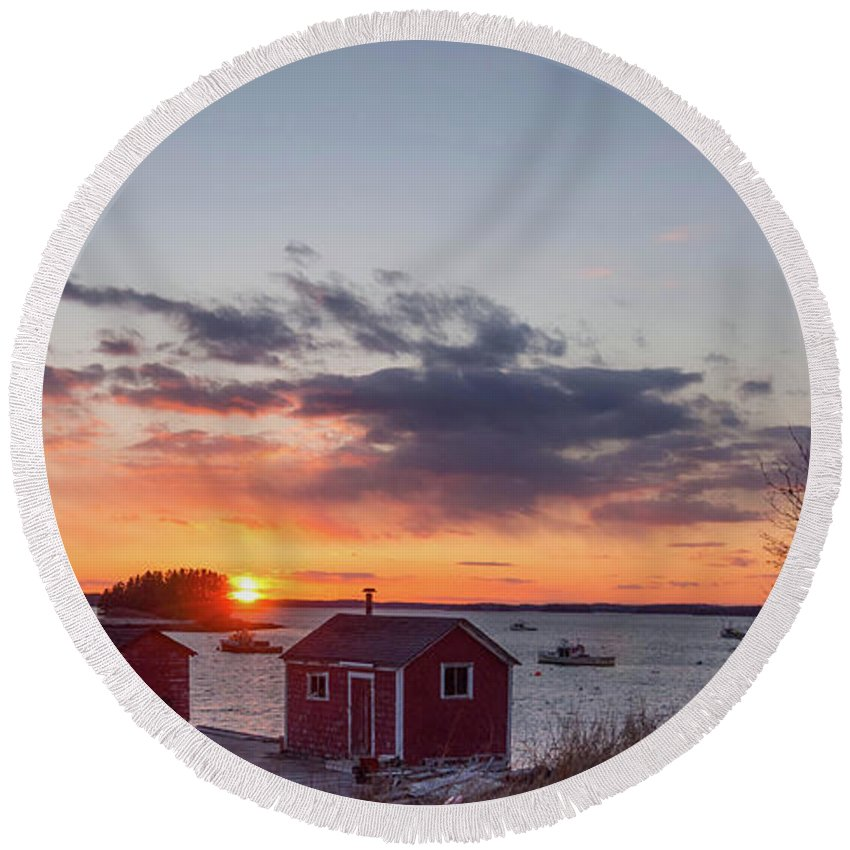 New England Round Beach Towel featuring the photograph Sunset Down East Maine by Trace Kittrell