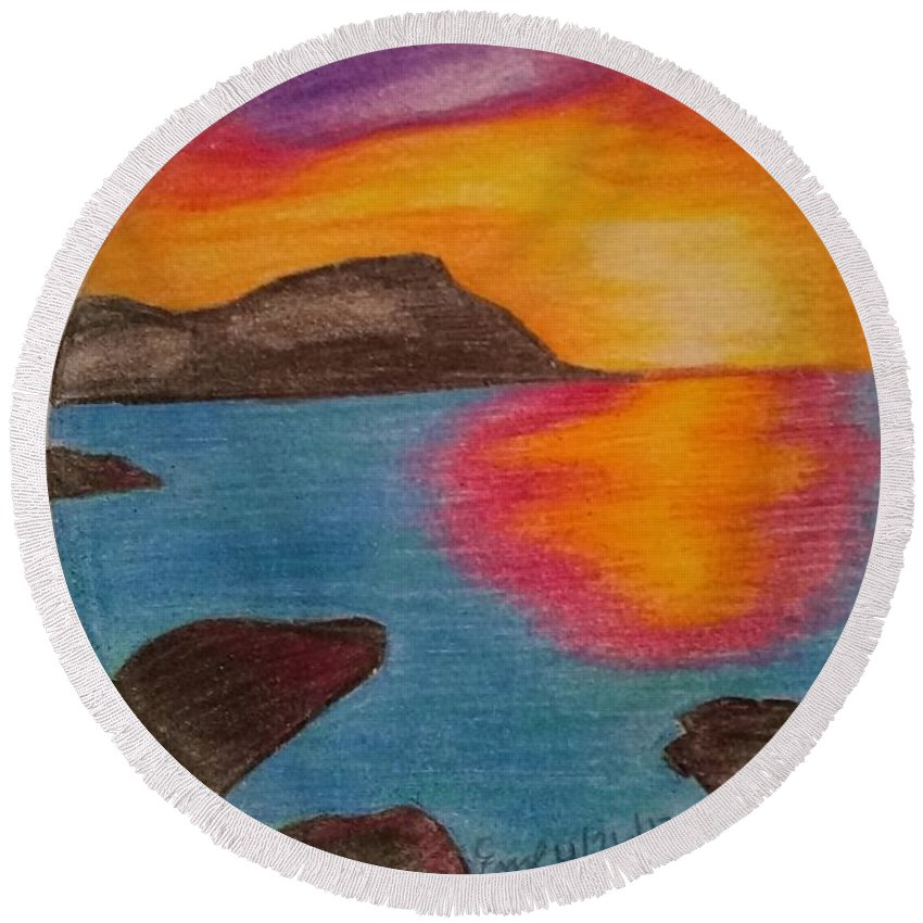Landscape Sunset Pencil Color Round Beach Towel featuring the drawing Sunset by Emily Ripplinger