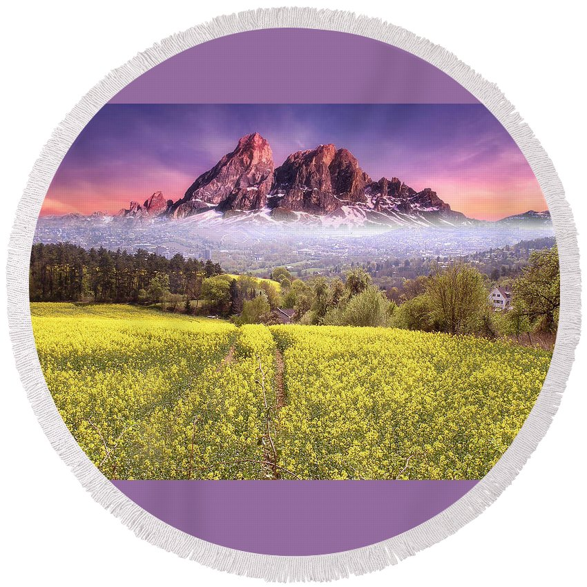 Sunset Round Beach Towel featuring the photograph Sunset Fields by Alex Lim