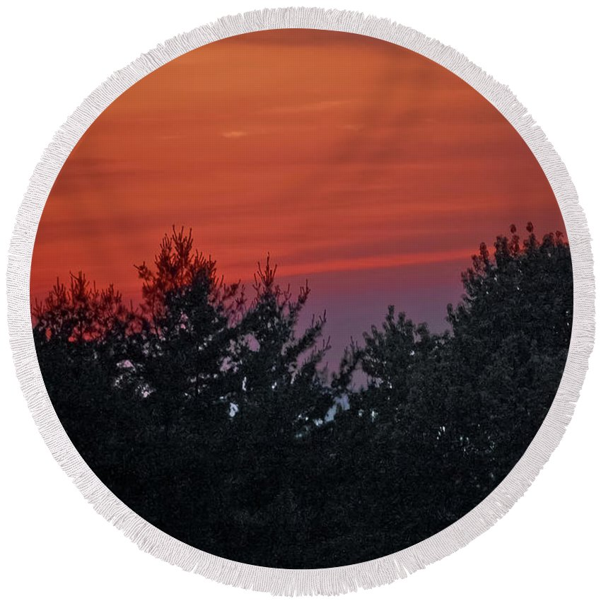 Sunset Round Beach Towel featuring the photograph Sunset From Bear Path by DigiArt Diaries by Vicky B Fuller