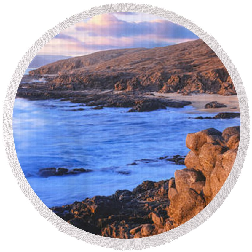 Photography Round Beach Towel featuring the photograph Sunset Glow Along Pacific Coast by Panoramic Images