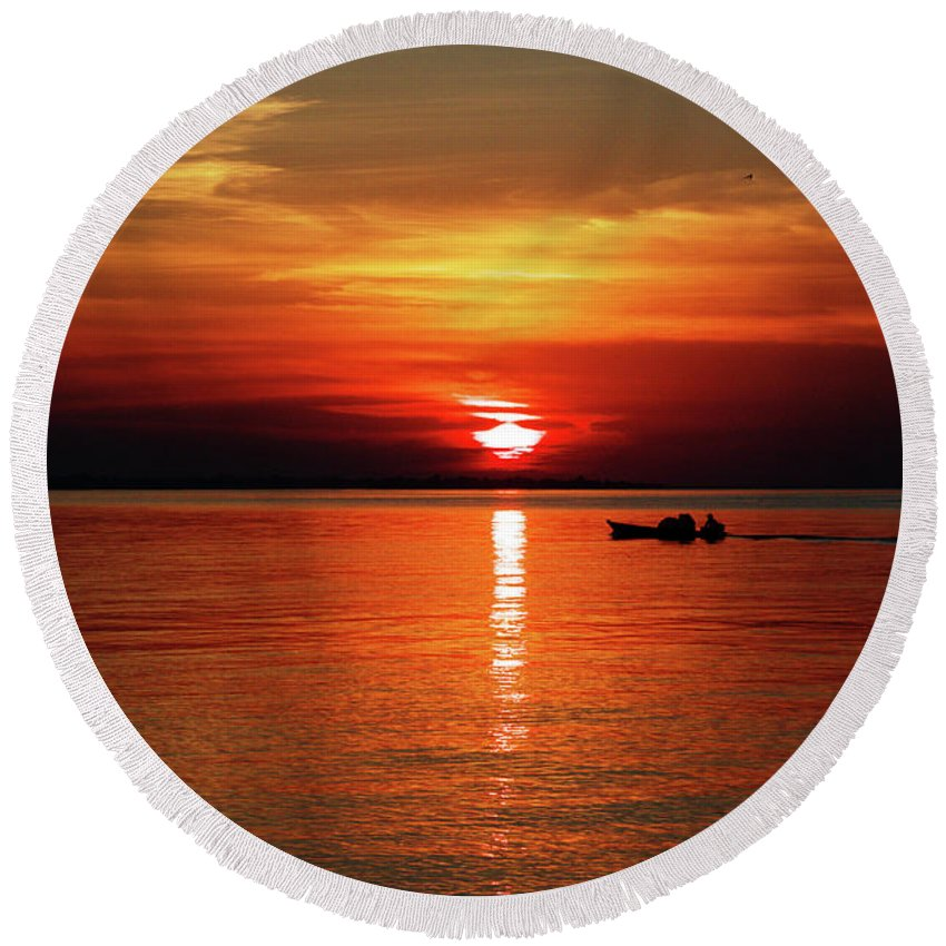 Sunset Round Beach Towel featuring the photograph Sunset by Helton Mendes