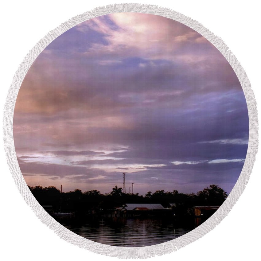 Sunset Round Beach Towel featuring the photograph Sunset Hut by Dolly Sanchez