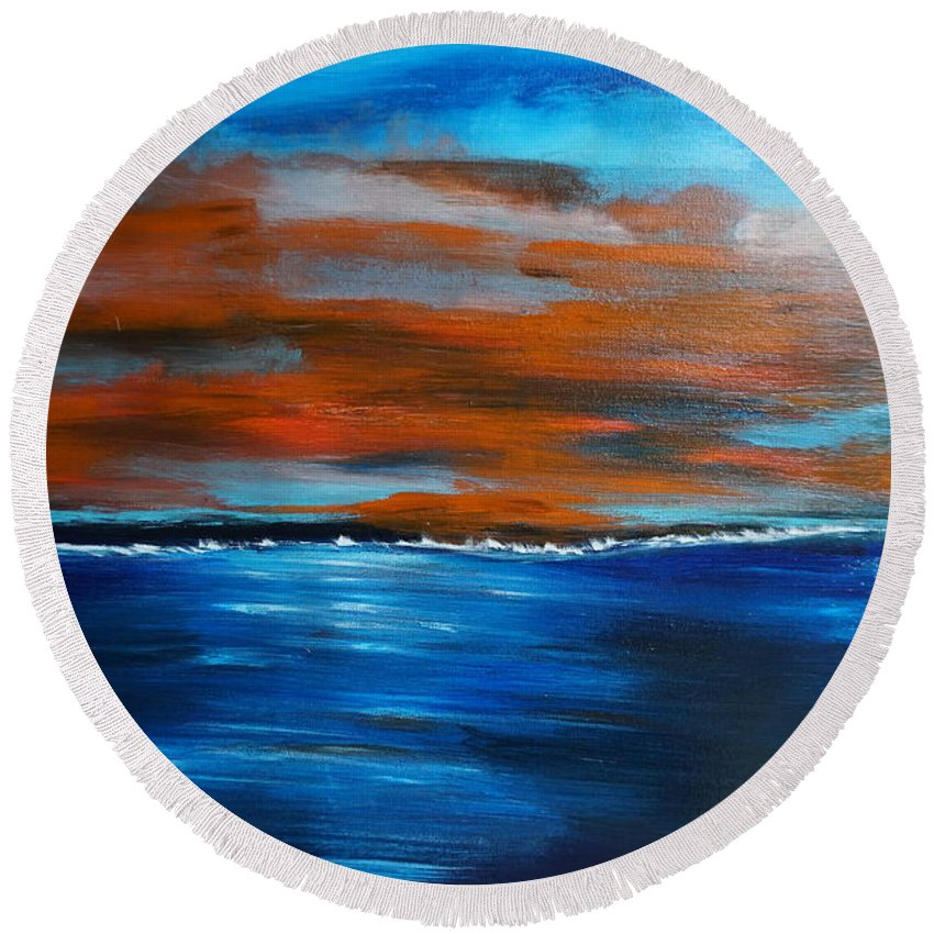 Sunset Round Beach Towel featuring the painting Sunset II by Jimmy Clark