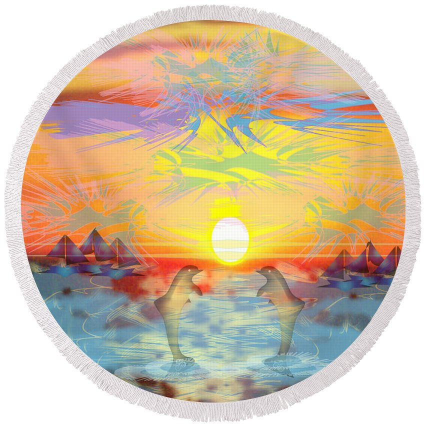 Nature Round Beach Towel featuring the digital art Sunset IIi by George Pasini
