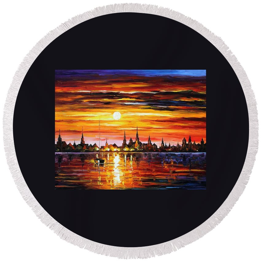 Afremov Round Beach Towel featuring the painting Sunset In Barcelona by Leonid Afremov