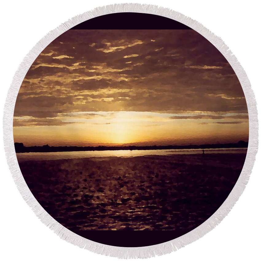 Sunset Round Beach Towel featuring the photograph Sunset In Fl by Charleen Treasures