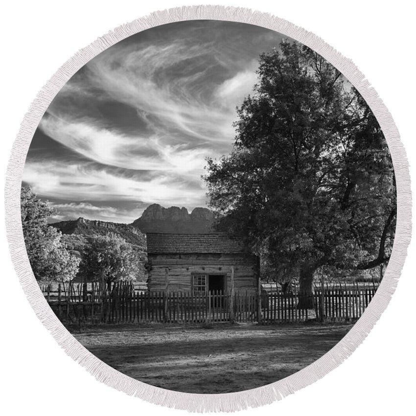 Black & White Round Beach Towel featuring the photograph Sunset In Grafton Ghost Town by Sandra Bronstein