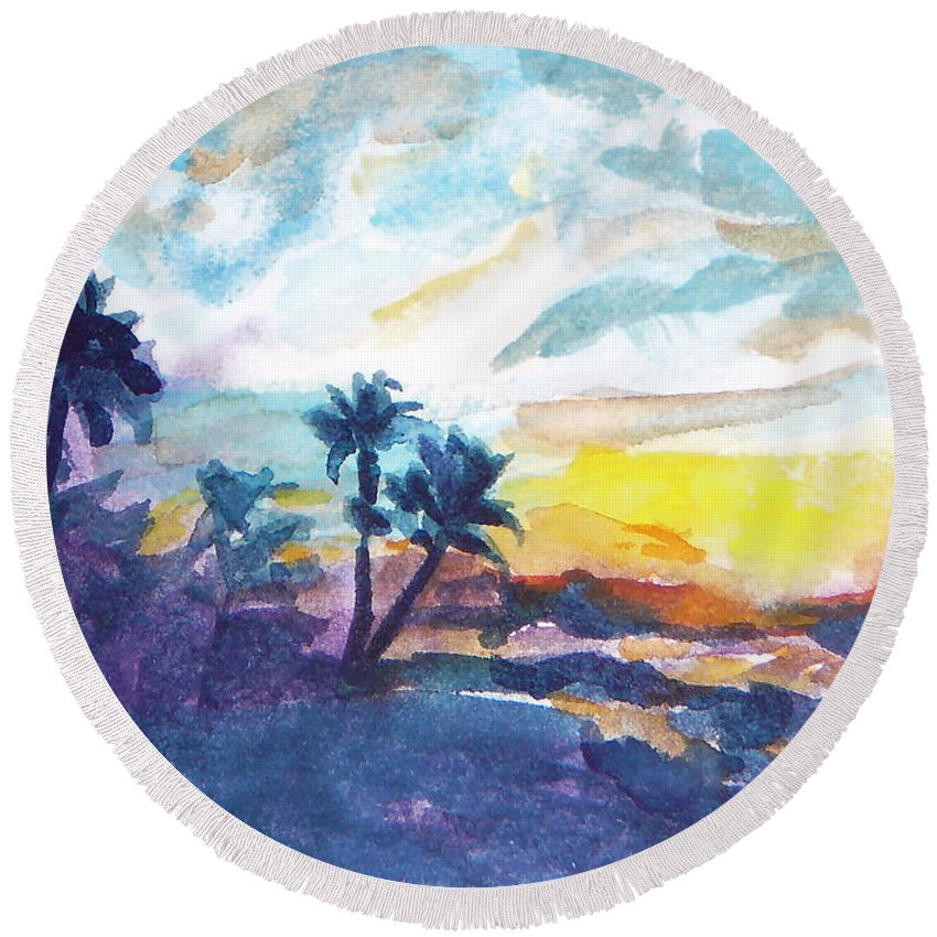 Landscape Round Beach Towel featuring the painting Sunset In Hawaii by Jan Bennicoff