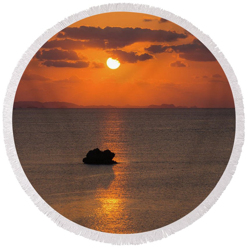 Sunset Round Beach Towel featuring the photograph Sunset In Okinawa by Jeremiah B