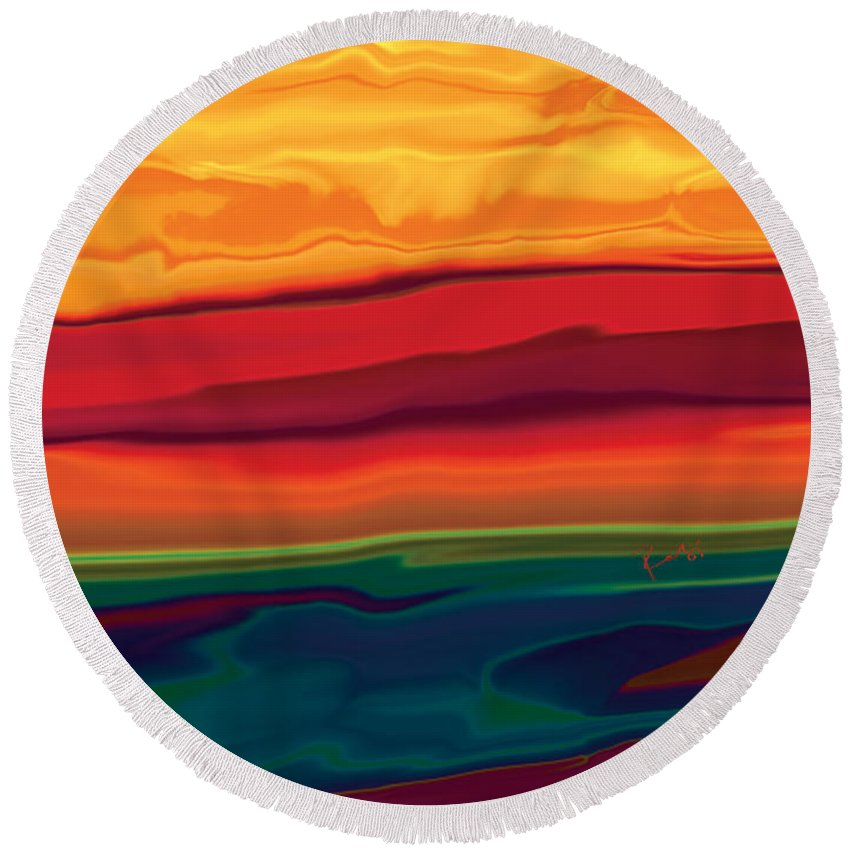Art Round Beach Towel featuring the digital art Sunset In Ottawa Valley 1 by Rabi Khan