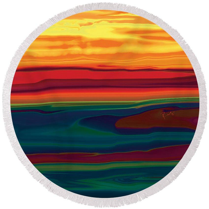 Art Round Beach Towel featuring the digital art Sunset In Ottawa Valley by Rabi Khan
