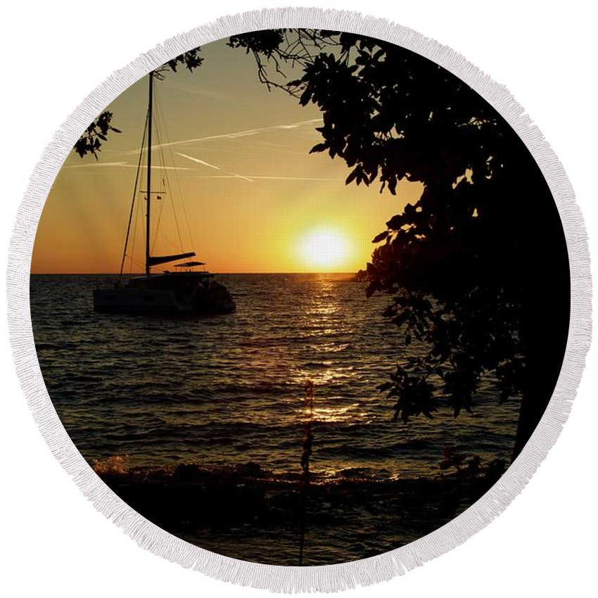 Croatia. Sunset. Sunlight Round Beach Towel featuring the pyrography Sunset In Rovinj Croatia by Phil Child