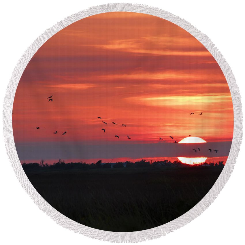 Landscape Round Beach Towel featuring the photograph Sunset In Sabine Pass Texas by TN Fairey