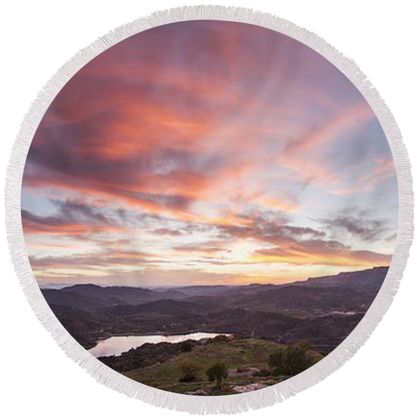 Sunset In Siurana Round Beach Towel featuring the photograph Sunset In Siurana, Spain by David Ortega Baglietto