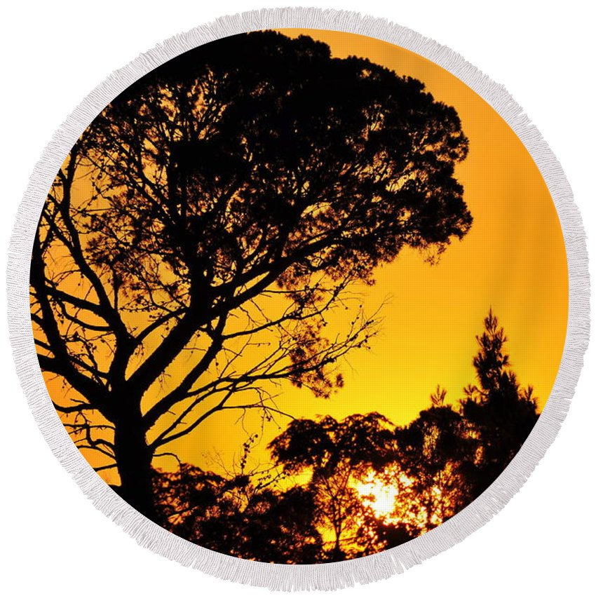 Clay Round Beach Towel featuring the photograph Sunset In Tujunga by Clayton Bruster