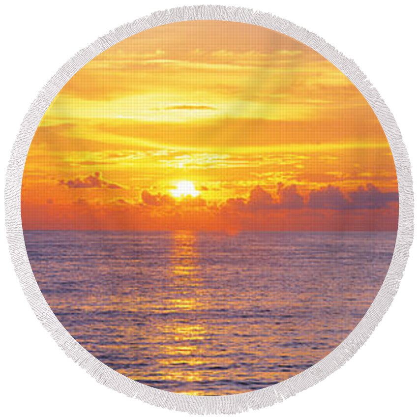 Photography Round Beach Towel featuring the photograph Sunset, Indian Rocks Beach, Florida, Usa by Panoramic Images