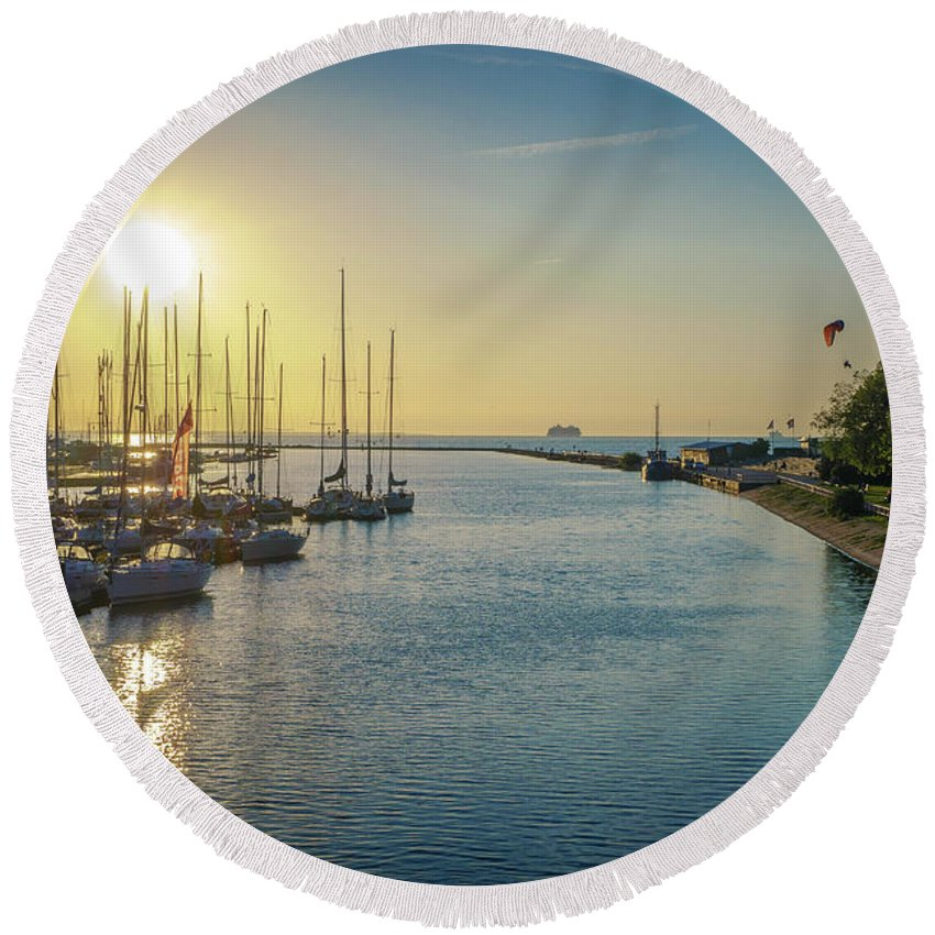 Baltic Round Beach Towel featuring the pyrography Sunset by Maksim Kozlov