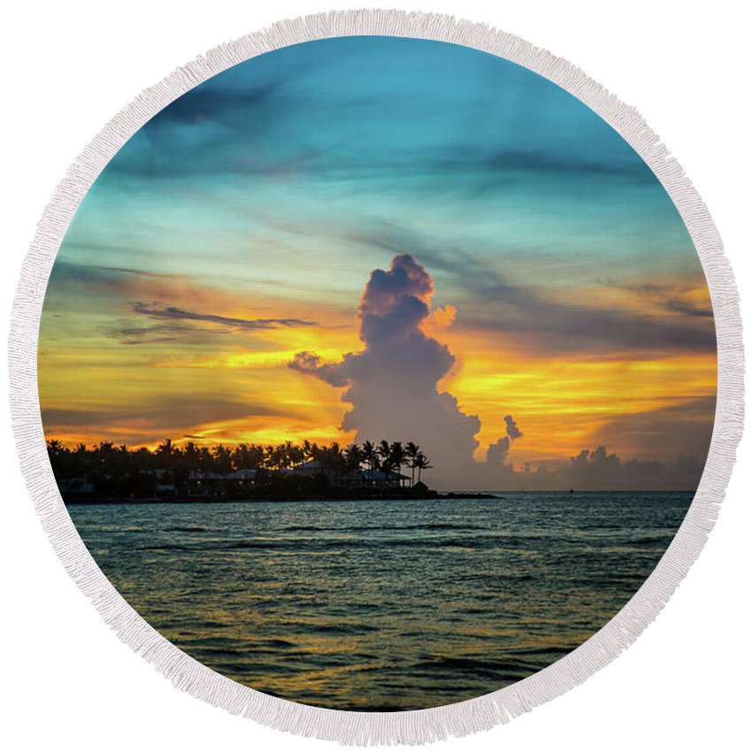 Sunset Round Beach Towel featuring the photograph Sunset by Marco Zottich