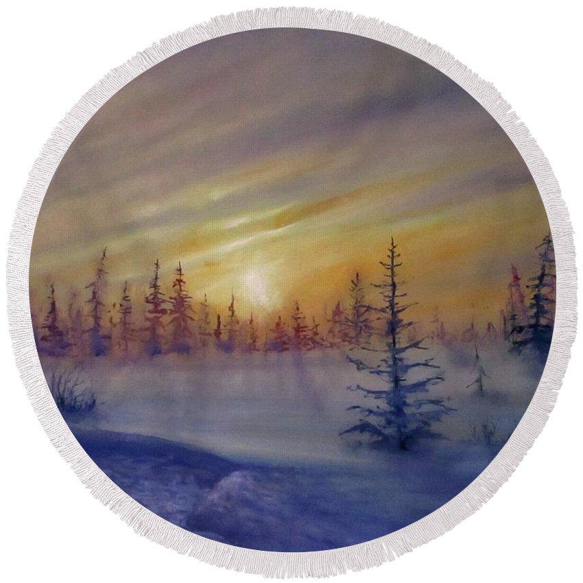 Winter Round Beach Towel featuring the painting Sunset by Natalja Picugina