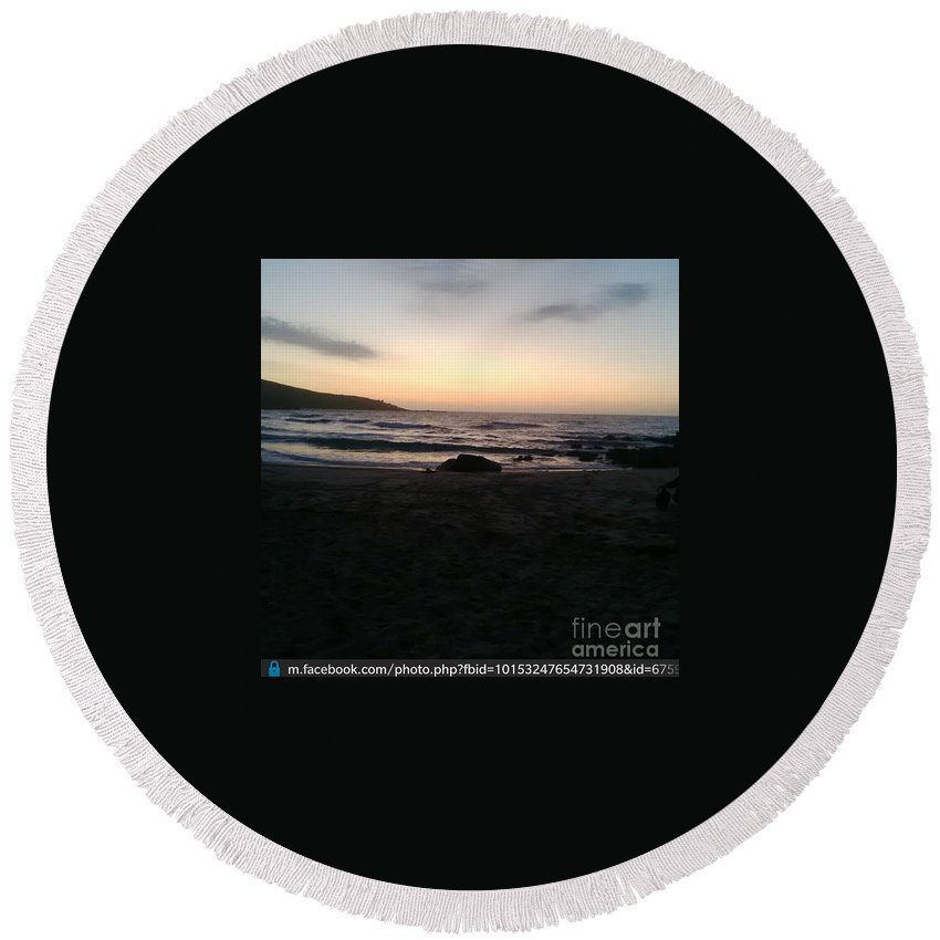 Sunset On The Beach St Ives By Jenny Potter Round Beach Towel featuring the photograph Sunset On The Beach by Jenny Potter