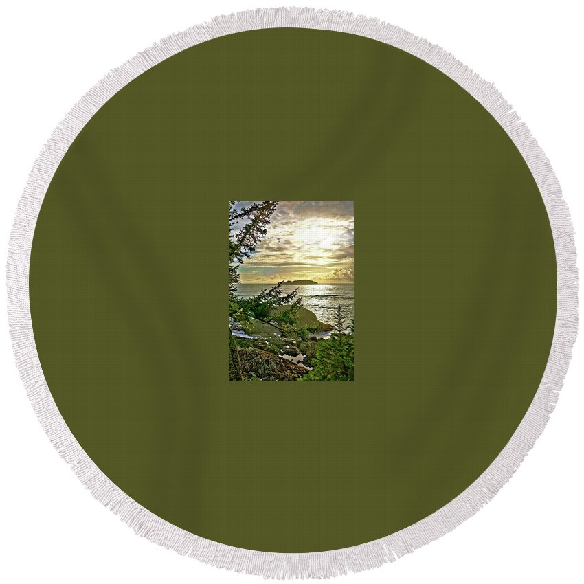 Sunset Round Beach Towel featuring the digital art Sunset Off Vancouver Island by Sterling Haidt